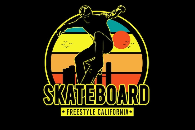 Skateboard freestyle california color yellow green and orange