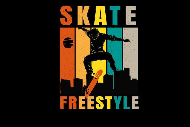 Skateboard freestyle color orange cream and green