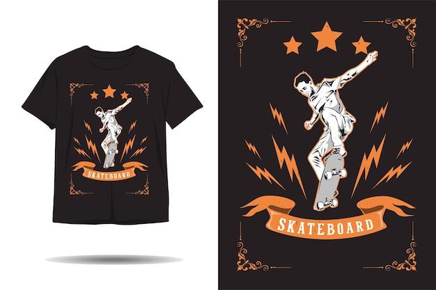 Skateboard freestyle electric vintage silhouette tshirt design