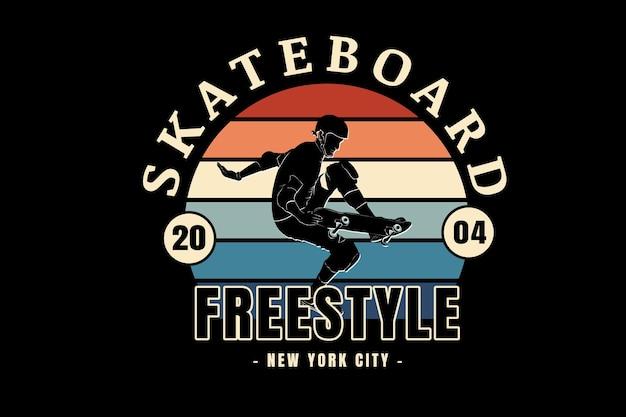 スケートボードフリースタイルニューヨークシティカラーオレンジクリームとグリーン