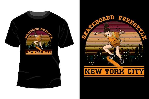 Skateboard freestyle new york city t-shirt mockup design vintage retro