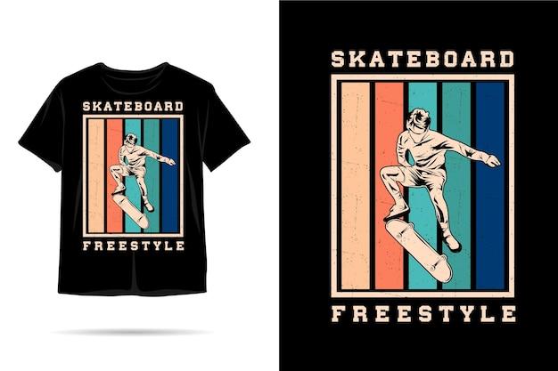 Skateboard freestyle silhouette t shirt design
