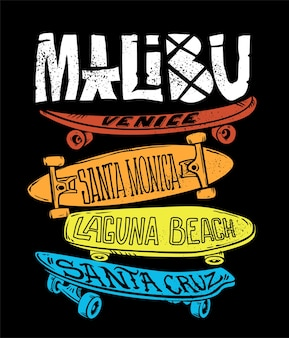 Изображение скейтборда для печати на футболках и других целей.