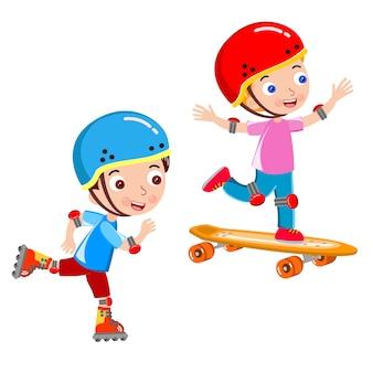 스케이트 보드 헬멧 스케이트를 타는 아이들