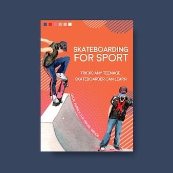 Illustrazione di vettore di concetto di design illustrazione skateboard.