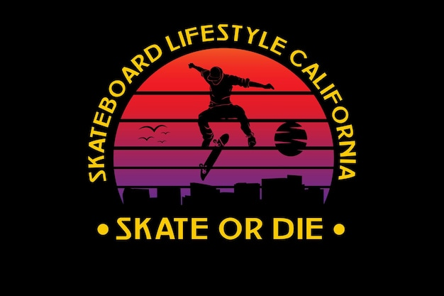 Skateboard lifestyle california color orange and purple