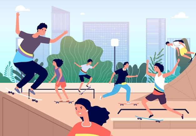 Скейт-парк. парк экстремального катания на коньках. девочки и мальчики трюки с досками, подростки на свежем воздухе