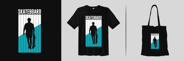 Skateboard print t-shirt and tote bag for merchandise