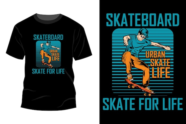 スケートボードスケートライフtシャツモックアップデザインヴィンテージレトロ