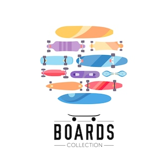 Skateboard and skateboarding collection background with skateboards located on a circle