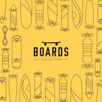 Skateboard and skateboarding collection background with skateboards