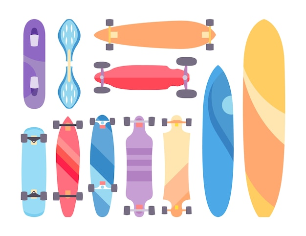 Skateboard and skateboarding set collection background with skateboards