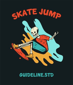 티셔츠 디자인을위한 스케이트 보드 해골