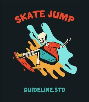 Skateboard skull for t-shirt design