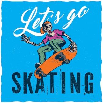 스케이트 보드를 재생하는 골격의 일러스트와 함께 스케이트 보드 티셔츠 라벨 디자인.