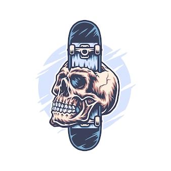 Skateboard through skull, hand drawn line with digital color illustration
