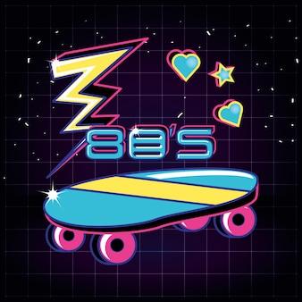 Skateboard and thunderbolt eighties retro