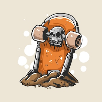 Skateboard tombstone illustration