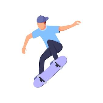 Skateboard tricks by a man