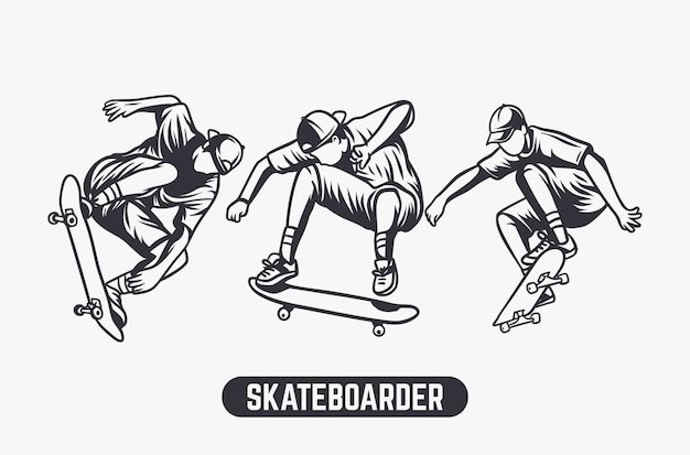 Skateboarder black and white illustration set
