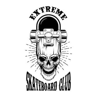 스케이트 보더 엠블럼. 교차 스케이트보드와 두개골. 로고, 레이블, 기호 디자인 요소입니다.