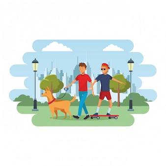 Skateboarder and man with dog