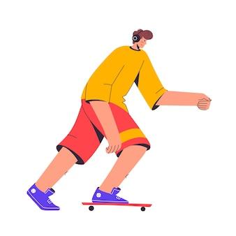스케이트 보더가 타고 음악을 듣습니다.