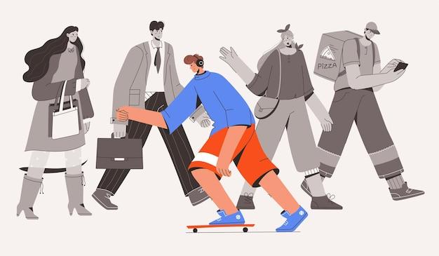 群衆の流れに逆らって乗るスケートボーダー