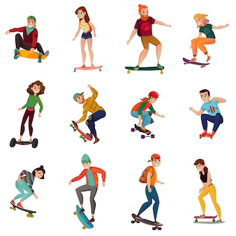 Skateboarders characters set