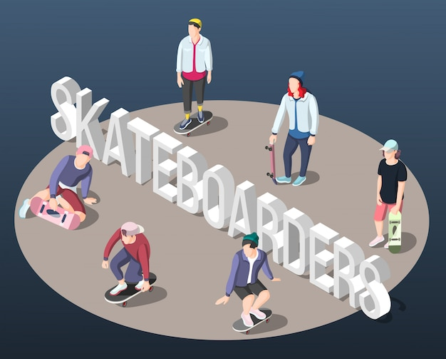 Skateboarders isometric background