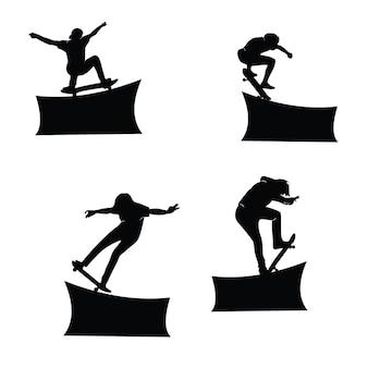 スケートボーダーのシルエットコレクションセット Premiumベクター