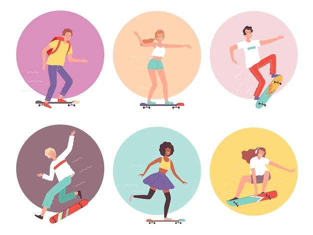 Skateboarders. urban activity hipsters characters riders on skateboard cool guys vector illustration. skateboard skateboarding, character skateboarder active