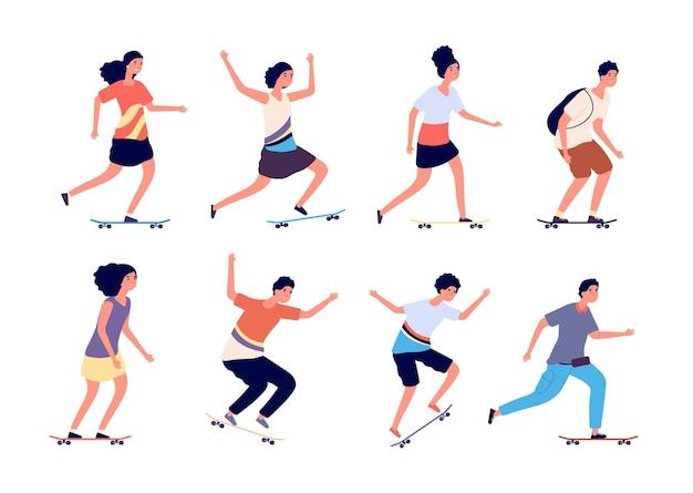 Скейтбордисты. городские подростки прыгают на скейтборде, девочки-мальчики - на скейтборды и лонгборды.