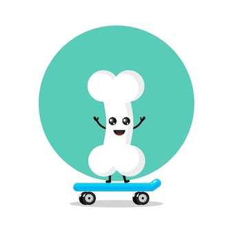 スケートボードの骨のかわいいキャラクターのロゴ