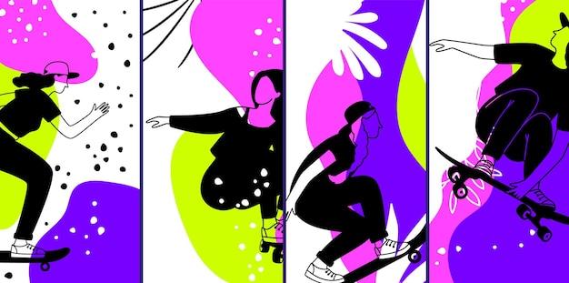 スケートボードのキャラクター。ネオンバナー、現代的なアーバンスタイルの女の子のチラシ。モダンな装飾カードベクトルデザイン
