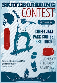 Skateboarding colored poster with descriptions of street jam park contest best trick vector illustration