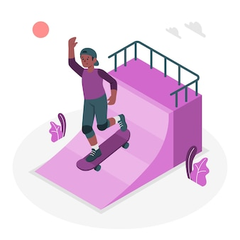 Illustrazione di concetto di skateboard