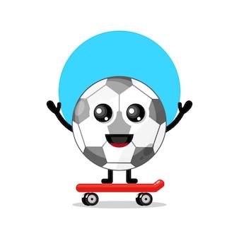 Skateboarding football cute character mascot