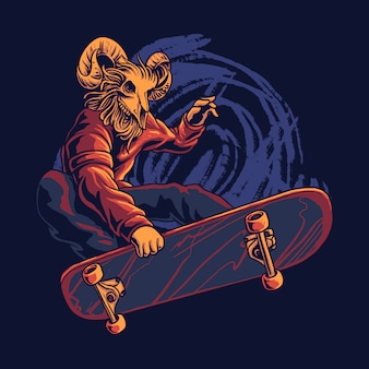 Skateboarding goat skull illustration