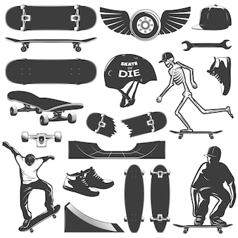 Skateboarding icon set equipment and protection for skater boy isolated and black vector illustration