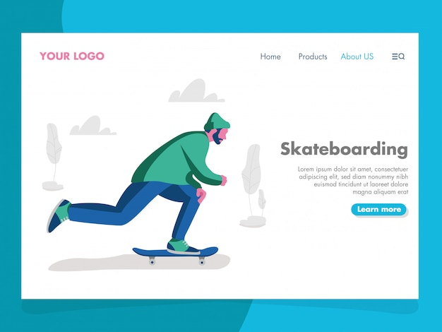 Skateboarding illustration for landing page