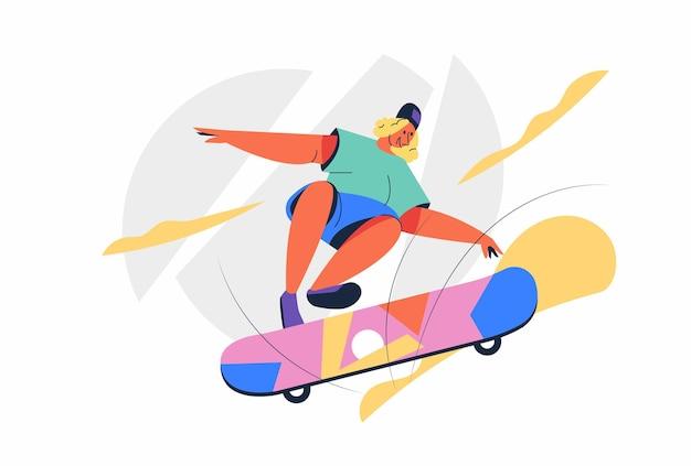スケートボードはオリンピックスポーツゲームの一種であり、アスリートは漫画のキャラクターでスケートボードのパフォーマンスを示しています Premiumベクター