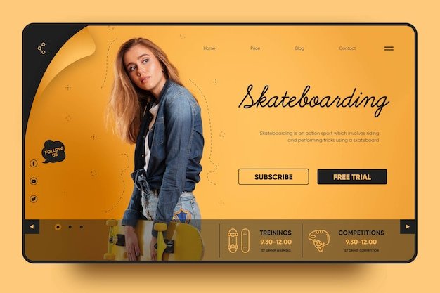 Skateboarding is fun landing page