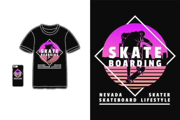T 셔츠 실루엣 복고풍 스타일을위한 스케이트 보드 네바다 스케이팅 디자인