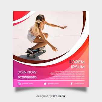 写真付きスケートボードポスターテンプレート