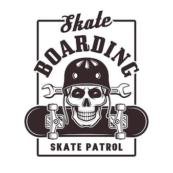 헬멧 빈티지 그림에서 두개골과 스케이트 보드 인쇄