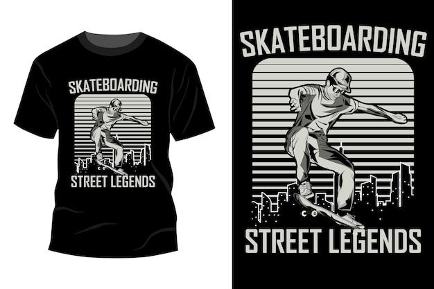 Skateboarding street legend t-shirt mockup design silhouette