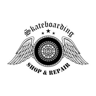 스케이트 보드 수리 기호 벡터 일러스트 레이 션. 천사 날개와 텍스트가있는 보드 바퀴