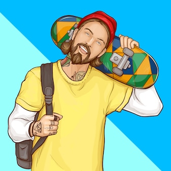 Skater boy, hipster holding skateboard, pop art