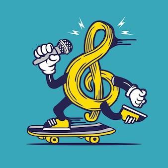 Skater g clef music notes symbol skateboarding character design